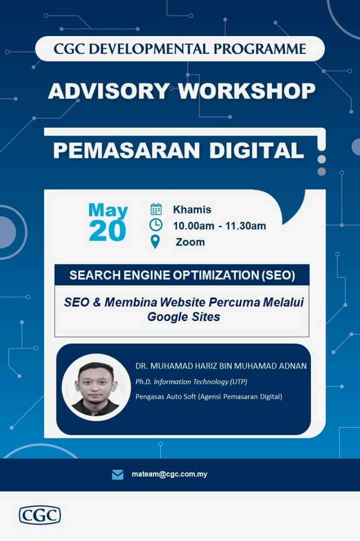 Advisory Workshop 9 Search Engine Optimization SEO dan Membina Website Percuma Melalui Google Sites